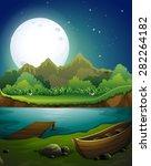river scene on the full moon... | Shutterstock .eps vector #282264182