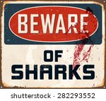 beware of sharks   vintage... | Shutterstock .eps vector #282293552