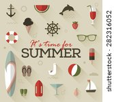 retro summer icon set vector  | Shutterstock .eps vector #282316052