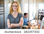 smiling casual businesswoman... | Shutterstock . vector #282357332