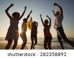 group of friends having fun at... | Shutterstock . vector #282358892