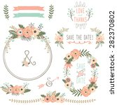 Stock vector rustic wedding flower wreath 282370802