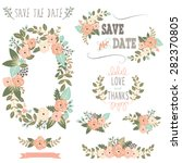 vintage rustic floral wreath | Shutterstock .eps vector #282370805