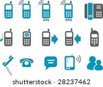 Vector icons pack - Blue Series, phones collection - stock vector