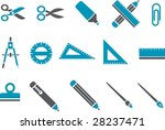 Vector icons pack - Blue Series, school collection - stock vector