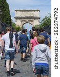 Small photo of Rome 05-16-2015: everyday thousand of tourists come to visit rome anf its historical monuments. The city during the holiday's period is crowded of people from allover the world