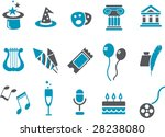 Vector icons pack - Blue Series, Entertainment collection - stock vector