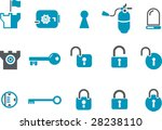 Vector icons pack - Blue Series, security collection - stock vector