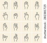 linear hand icons set on back... | Shutterstock .eps vector #282381725