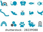 Vector icons pack - Blue Series, animals collection - stock vector