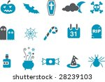 Vector icons pack - Blue Series, halloween collection - stock vector