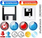 downlaod  cd  dvd   icon set   Shutterstock .eps vector #28240483