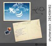old postcard design  template.... | Shutterstock .eps vector #282408482