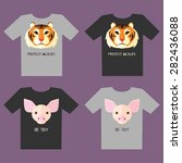 set of t shirt designs with... | Shutterstock .eps vector #282436088