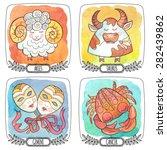 Zodiac Icons. Set. Watercolor....
