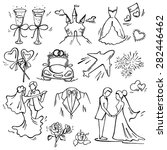set of wedding icon pen sketch... | Shutterstock .eps vector #282446462