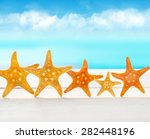 five starfish on the beach. | Shutterstock . vector #282448196