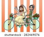 wedding couple illustration.... | Shutterstock . vector #282469076