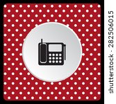 white polka dots on a red phone.... | Shutterstock .eps vector #282506015