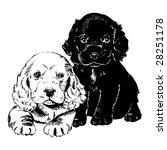 vintage 1950s cute puppies ... | Shutterstock .eps vector #28251178