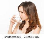 asian woman drinking water   Shutterstock . vector #282518102
