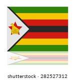 reflection flag zimbabwe  | Shutterstock .eps vector #282527312