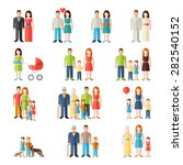 family flat icons set with... | Shutterstock .eps vector #282540152