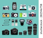 set of camera flat icons.... | Shutterstock .eps vector #282546758