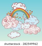 doodle clouds and rainbow  hand ... | Shutterstock .eps vector #282549962