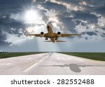 passenger plane fly up over... | Shutterstock . vector #282552488