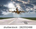 passenger plane fly up over...   Shutterstock . vector #282552488
