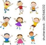 cartoon many kids jumping... | Shutterstock . vector #282568232