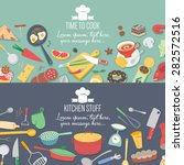 food and cooking banner set... | Shutterstock .eps vector #282572516