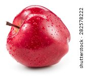 Red Apple With Drops Isolated...