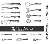 hand drawn kitchen utensils set.... | Shutterstock .eps vector #282590432
