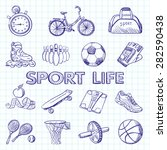 icon set fitness. hand drawn... | Shutterstock .eps vector #282590438