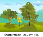 vector landscape of green hills ... | Shutterstock .eps vector #282594746