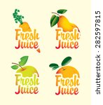 set of fresh juices with... | Shutterstock .eps vector #282597815