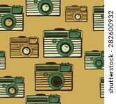 vintage camera vector pattern | Shutterstock .eps vector #282600932