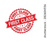 first class grunge retro red... | Shutterstock .eps vector #282604556