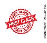first class grunge retro red... | Shutterstock .eps vector #282604556