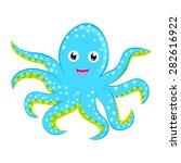 Cute Baby Octopus Vector Cyan...
