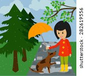 Vector Image. Dog And Girl Wit...