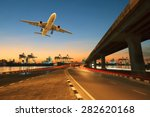 road  land bridge run into ship ... | Shutterstock . vector #282620168