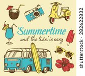 retro summer vacation set with... | Shutterstock .eps vector #282622832