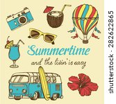 retro summer vacation set with... | Shutterstock .eps vector #282622865