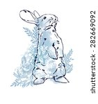 cute hare  rabbit sketch vector ... | Shutterstock .eps vector #282669092