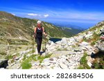 sunny trail on the mountain and ... | Shutterstock . vector #282684506