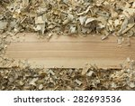 wooden table with sawdust.... | Shutterstock . vector #282693536