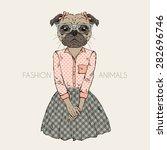 fashion animal illustration ... | Shutterstock .eps vector #282696746